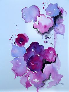 Abstract Floral Original Watercolor Painting - Magenta, Gray, Purple - Modern Home Decor - Affordable Gift. via Etsy.