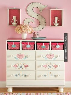 Cool - How very clever...take drawers out and pop in baskets then hang the drawers on the wall to act as little display shelves. | CHECK OUT MORE DRESSER IDEAS AT DECOPINS.COM | #dressers #dresser #dressers #diydresser #hutch #storage #homedecor #homedecoration #decor #livingroom