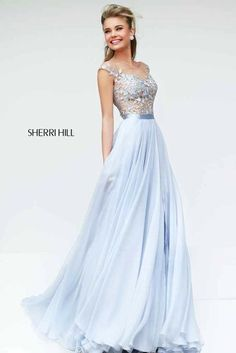 Pale blue, leaf detailed corseted, chiffon, floor length prom dress