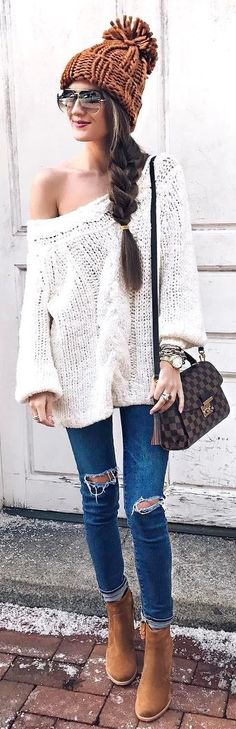 40 Outfit Ideas For Winter Brown Beanie / Off Shoulder Knit / Destroyed Skinny Jeans / Brown Booties / Checked Shoulder Bag Casual Winter Outfits, Fall Outfits, Cute Outfits, Fashion Outfits, Womens Fashion, Ski Fashion, Style Fashion, Summer Outfits, Outfit Invierno