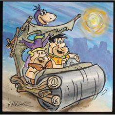 Fred Flintstone, Barney Rubble and Dino