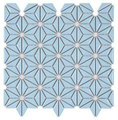 Ceramic Mosaic Tile Flower Vintage Blue