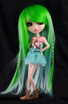 Green Extra Long Straight Wig with bangs for by SparklyMarket