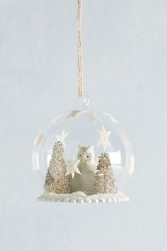 Owl's Forest Snowglobe Ornament #anthropologie