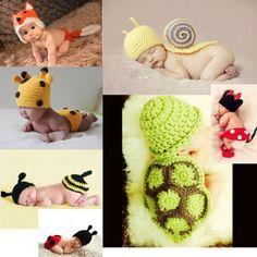 New Cute Handmade Animal Hat  Baby Knit Crochet Hat Set Newborn Photo Prop