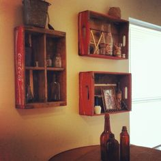 Coca Cola crates as shelves!