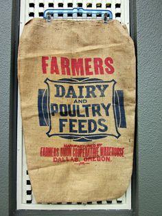 $15  1950s Burlap Grain Sack. Super nice condition.