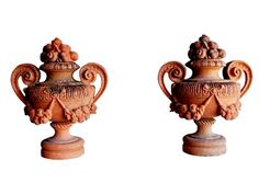 Antique terra cotta fruit urns from Florence, Italy