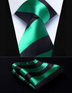 "TS904G8S Green Black Stripe 3.4"" Silk Woven Men Tie Necktie Handkerchief Set Party Wedding Classic Pocket Square Tie"