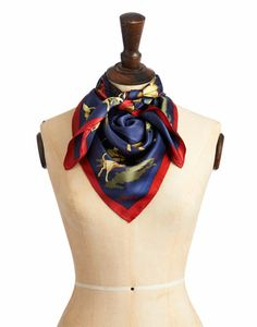 Joules Clarence Silk Scarf - A silk scarf that has captured Joules' equestrian heritage beautifully. Wear it as a scarf, tie it around your bag, or wear it as a head scarf.
