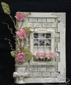 Jess - 'Well Mum if your craft doesn't take off you can always go brick laying' Rae - 'I'll be adding to my resume for sure' You got to lo. Quilled Creations, Heartfelt Creations, Brick Laying, Diy And Crafts, Paper Crafts, Shabby Chic Cards, Window Cards, Mixed Media Canvas, Flower Cards