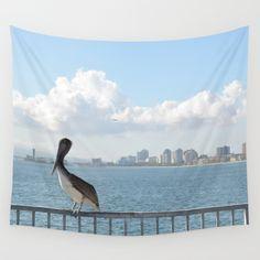 Seaside City Harmony Wall Tapestry  #walltapestry #tapestry #tapestries #homedecor #art #longbeach #LBC #ilovelongbeach #coast #coastal #pelican #city #cityscape #ocean #photography