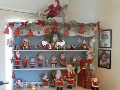 A hutch full 'o Santas (from Attic Clutter)