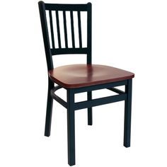 Troy Black Metal Slat Back Restaurant Chair with Wood Seat - These attractive Troy black metal restaurant chairs with wood seats from BFM Seating are built to last with sturdy, wood seats and sand black metal frames and backs. Offered at a very competitive price, these black metal restaurant chairs are available with multiple solid wood restaurant chair seat finishes for a contemporary look to meet your facility's commercial restaurant chair needs.  [2090C-SBW]
