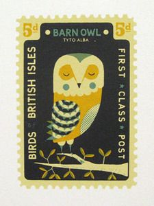 A 'Birds of the British Isles' stamp themed screenprint on Fabriano paper.  by The Boy Frost