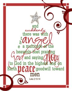 Beautifully arranged typography and frame in This and That Creative Blog's  Christmas Subway Art Printable with Luke2:13-14 inspirational quote.