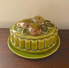 Vintage Dish. Ceramic Butter Plate Lid.1950s Retro Platter.Fruit.Cottage Decor.Olive Green