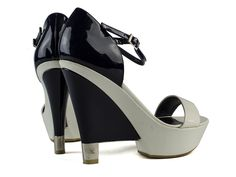 2006 Chanel White & Navy Patent Leather Wedges