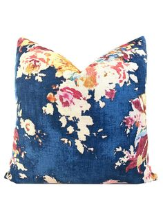This Decorative Pillow Cover in Covington Venus Basketweave Sapphire is a beautiful traditional accent piece. Covington Venus Basketweave Sapphire is a heavyweight linen blend basketweave floral with colors including dark blue, shades of brown, red, pink, green, and yellow. PLEASE USE AN