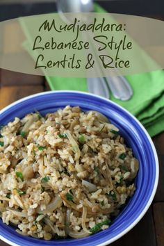 Mudjaddara: Lebanese Style Lentils and Rice ~ Lydia's Flexitarian Kitchen middle eastern cooking Lentil Recipes, Vegetarian Recipes, Cooking Recipes, Healthy Recipes, Protein Recipes, Rice Recipes, Cooking Ideas, Vegan Vegetarian, Food Ideas