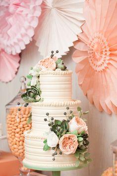 Peach + Mint Wedding Cake; photo: Charlie & Juliet, styling: Hank + Hunt and Minted, cake: Sugar Flower Cake Shop