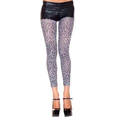 Footless Opaque Leopard Print Tights