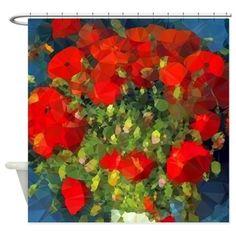 orange floral shower curtain. Van Gogh Red Poppies Floral Shower Curtain Orange Low Polygon Art  Curtains