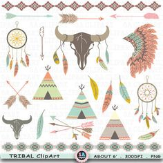 "Tribal ClipArt "" TRIBAL INDIAN ""clip art.Skull,Feather Headdress,Feathers,Aztec Arrow,Teepee Tents,Indian Clipart,Wedding Invitation Trb009 by SAClipArt on Etsy"
