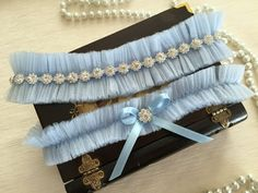 wedding garter set, blue tulle bridal garter set, blue bow, rhinestone by alarastore on Etsy
