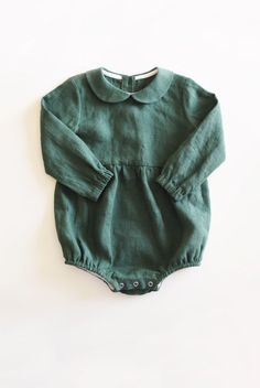 b66bdbfa19cb Handmade Long Sleeved Green Linen Baby Romper Holiday Christmas Outfit