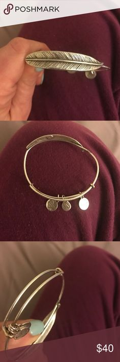 Alex and Ani feather bracelet Good condition, the flaws are pictured. Not noticeable at all. No trades, no low balls. Alex & Ani Jewelry Bracelets