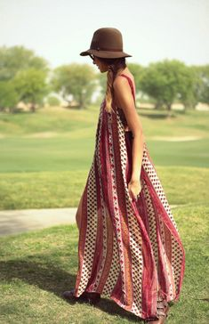 Try a bohemian printed style and wear it with a hat. Bonus points if the fabric is so lightweight that it blows in the breeze