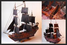 This ship paper model is the Black Pearl (originally Wicked Wench), based on the film series Pirates of the Caribbean. This papercraft was modeified by UHU