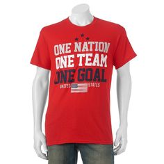 """Big & Tall """"One Nation One Team One Goal"""" USA Tee, Men's, Size: Xl Tall, Red"""