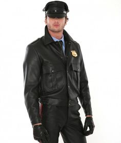 Made to measure out of the best quality leather, this jacket is ideal for everyday dress, cosplay, fetish wear and more. A relaxed fit gives you the freedom to easily move. #PoliceLeatherMotorcycleJacket