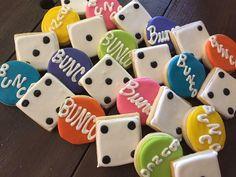 Baby Cookies, Royal Icing Cookies, Birthday Cookies, Sugar Cookies, Bunco Game, Bunco Party, Bunco Themes, Bunco Ideas, Party Ideas