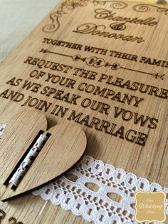 """One of our Favorites - Vintage Lace Wood Wedding Invite available from """"That Wedding Place"""""""