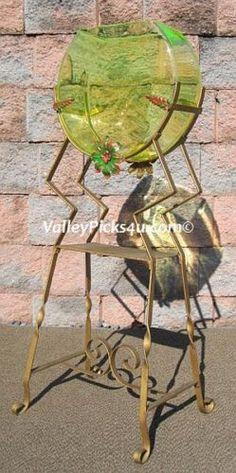 Vintage Art Deco Antique Opalescent Vaseline Glass GB Fish Bowl Aquarium Stand | eBay