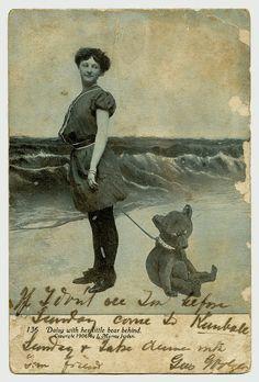 postcard, 1906, daisy and her bear