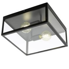 Eglo Charterhouse Ceiling Light in Black Steel and Clear Glass - Lounge And Hallway Lighting from Dusk Lighting UK