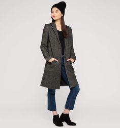 Mantel mit Wolle in schwarz-melange