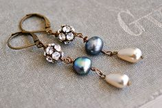 Eve. romantic grey and ivory pearl rhinestone by tiedupmemories
