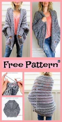 5 Beautiful Crochet Sweater Free Patterns #freecrochetpatterns #sweater #cardigan #jacket
