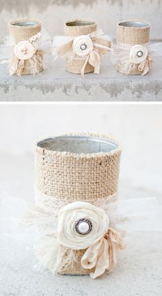 Burlap Candle Holders | Click Pic for 25 DIY Wedding Decorations on a Budget | DIY Rustic Wedding Decor Ideas on a Budget