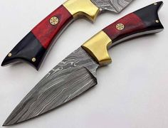 """Specification: Overall length 9 """" handle made of English sheet and brass  amazing Damascus use  English leather cover of knife also included leather cover also available which customer demands (more h"""
