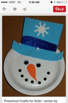 Snowman plate face for preschoolers..