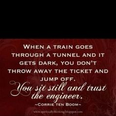 When A Train Goes Through A Tunnel And It Gets Dark, You Don't Throw Away The Ticket And Jump Off. You Sit Still And Trust The Engineer.  -Corrie Ten Boom