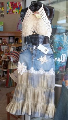 upcycled denim skirt: the crochet accents are a bit too much, but I like the overall look