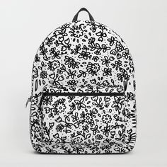 Black little flowers Backpack by laurafrere Little Flowers, Vera Bradley Backpack, Graphic, Backpacks, Patterns, Illustration, Stuff To Buy, Bags, Pattern