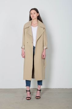 """All Of Your Spring Outerwear Needs, Solved #refinery29  http://www.refinery29.com/spring-outerwear-light-jackets#slide-13  The Offbeat TrenchTrench coats can get a bad rap as a stuffy classic only your mom wears, but there's something to love about the goes-with-everything color and perfectly lightweight fabric of this timeless style. Funk things up with contemporary cuts and colors — here, an oversized lapel does the trick.Oak + Fort Coat F03, $258, available at <a href=""""..."""